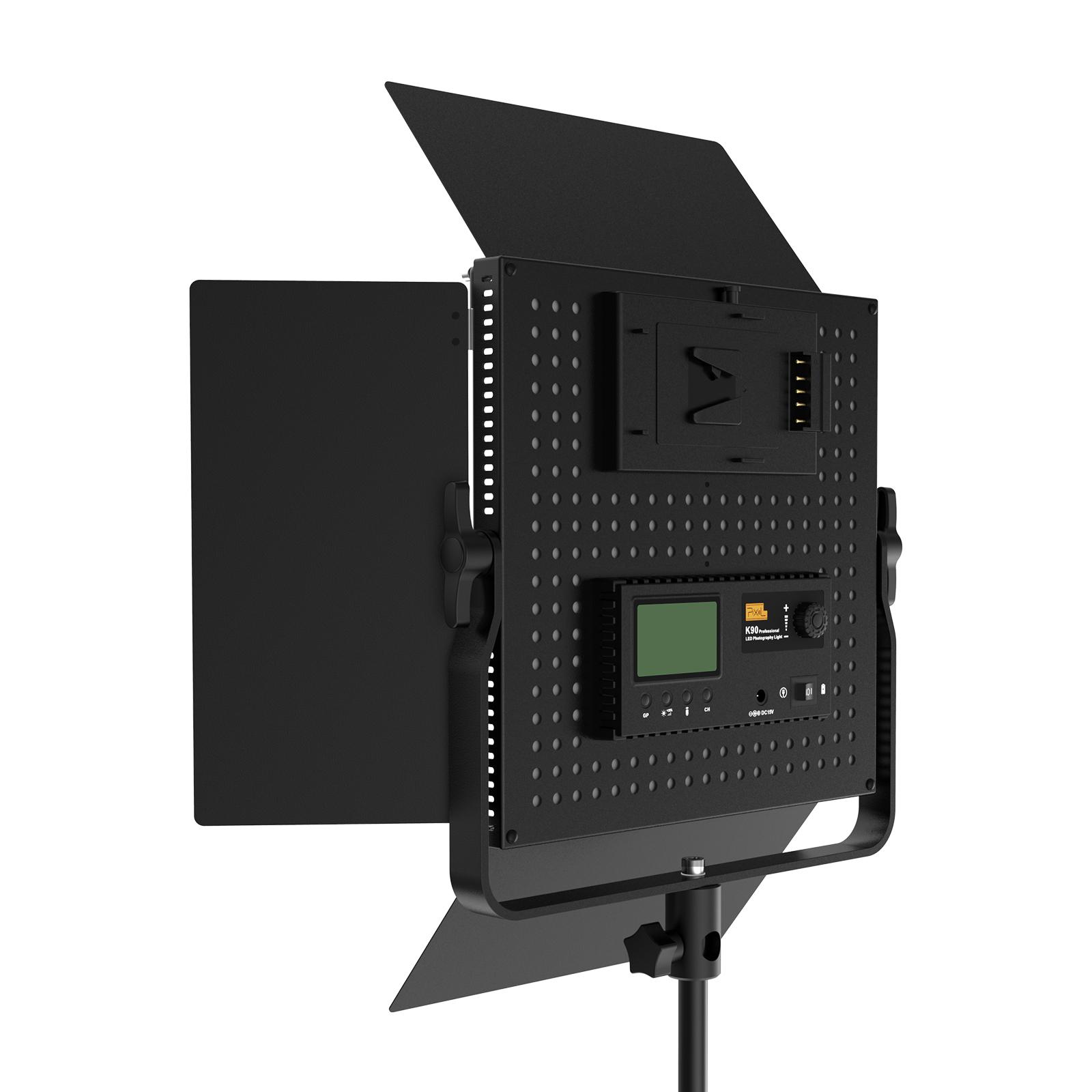 Plxel K90S RGB Metal Light, Gathering light Reflector, brightness upgrade, bi-color temperature and Stepless Adjusted.