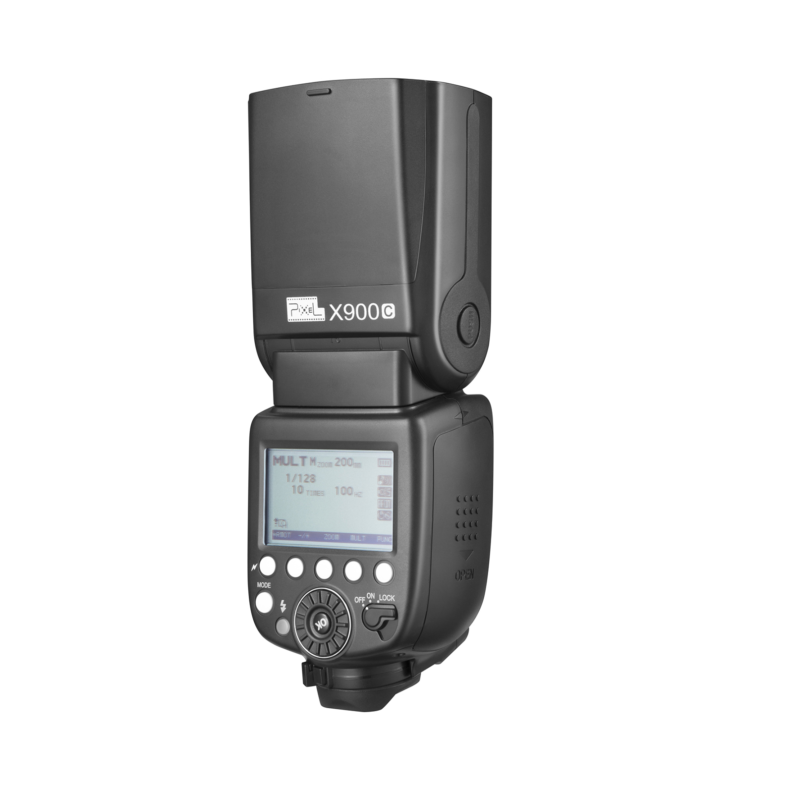 Pixel X900 Lithium Battery Speedlite For Canon, high speed synchronization and powerful performance.