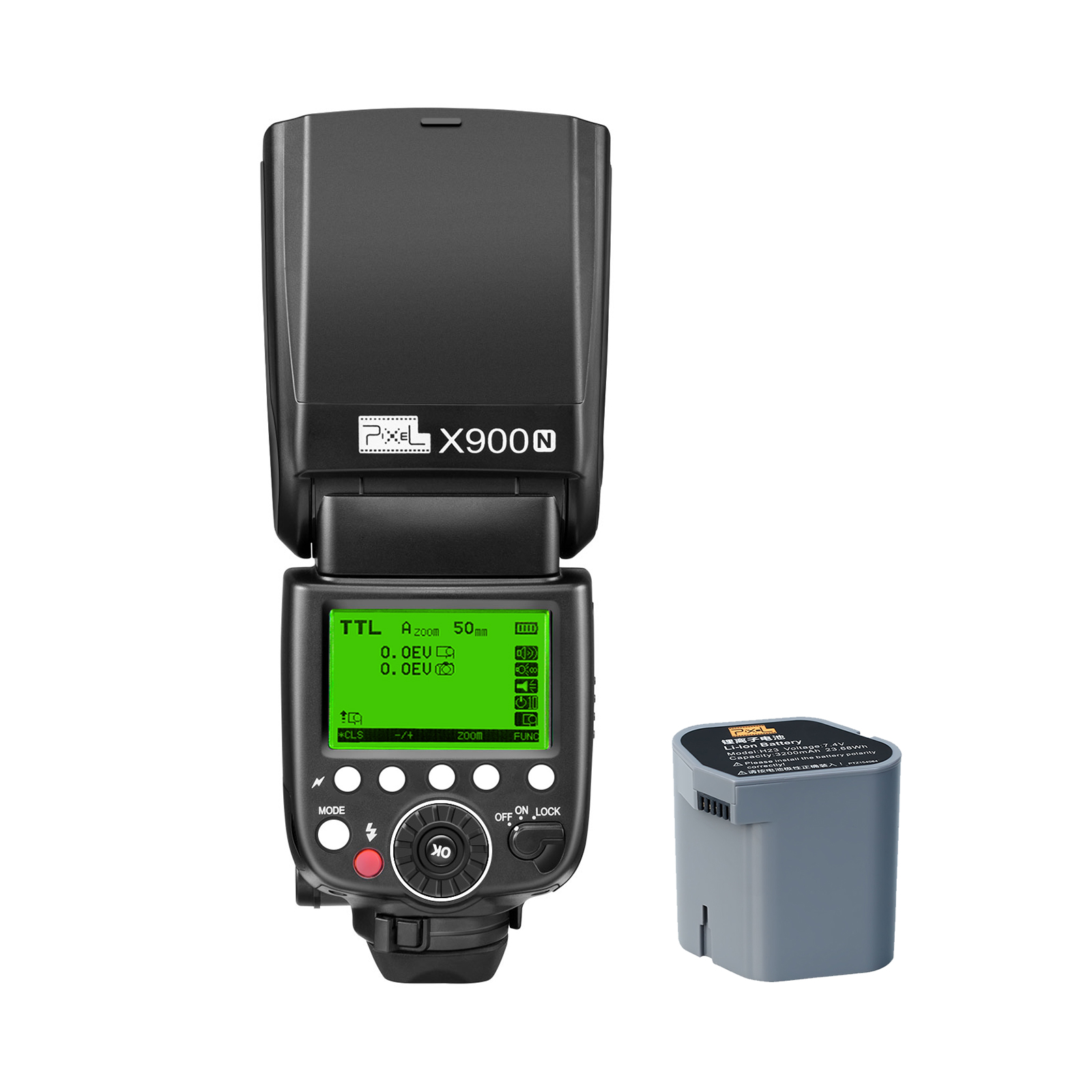 Pixel X900 FOR Nikon Lithium Battery Speedlite, high speed synchronization and powerful performance