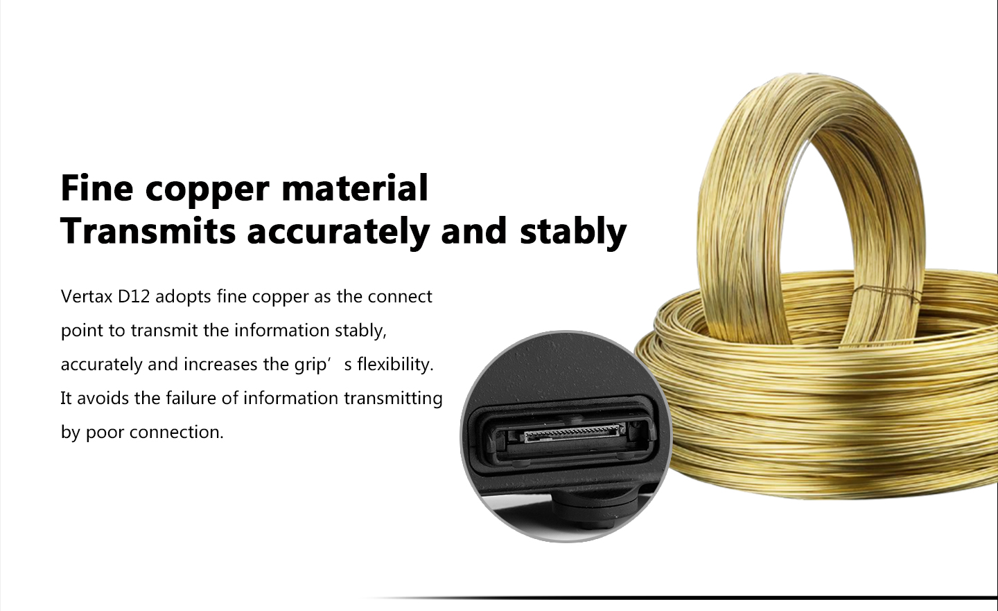 Fine copper material Transmits accurately and stably