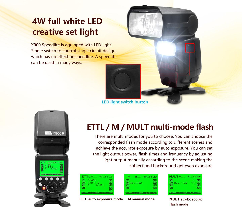 4W full white LED creative set light, ETTL/M/MULT multi-mode flash