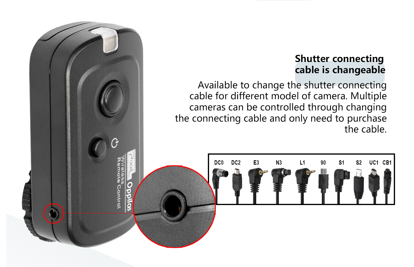 Shutter connecting cable is changeable