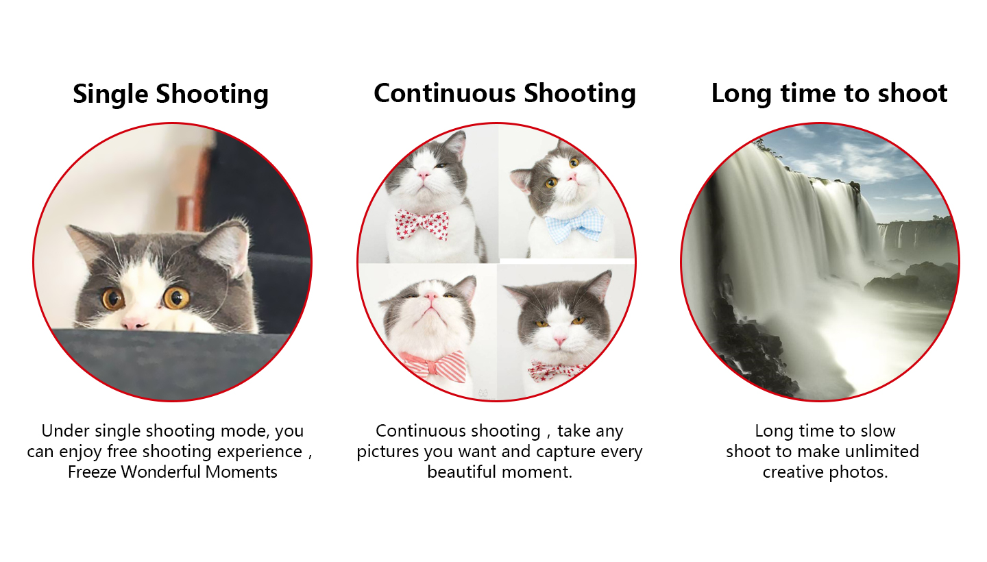 Single Shooting Continuous Shooting Long time to shoot