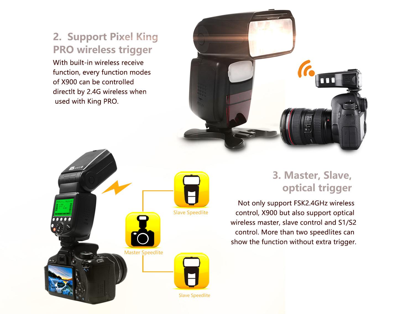 Support Pixel King PRO wireless trigger, Master, Slave, optical trigger