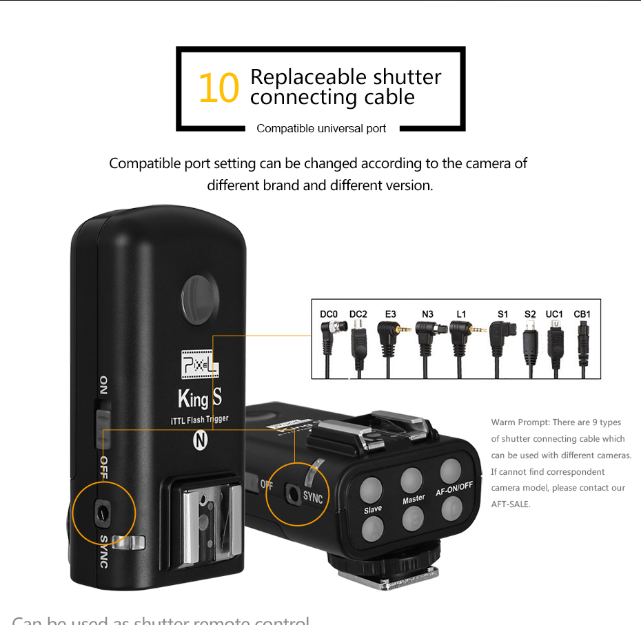 Replaceable shutter connecting cable