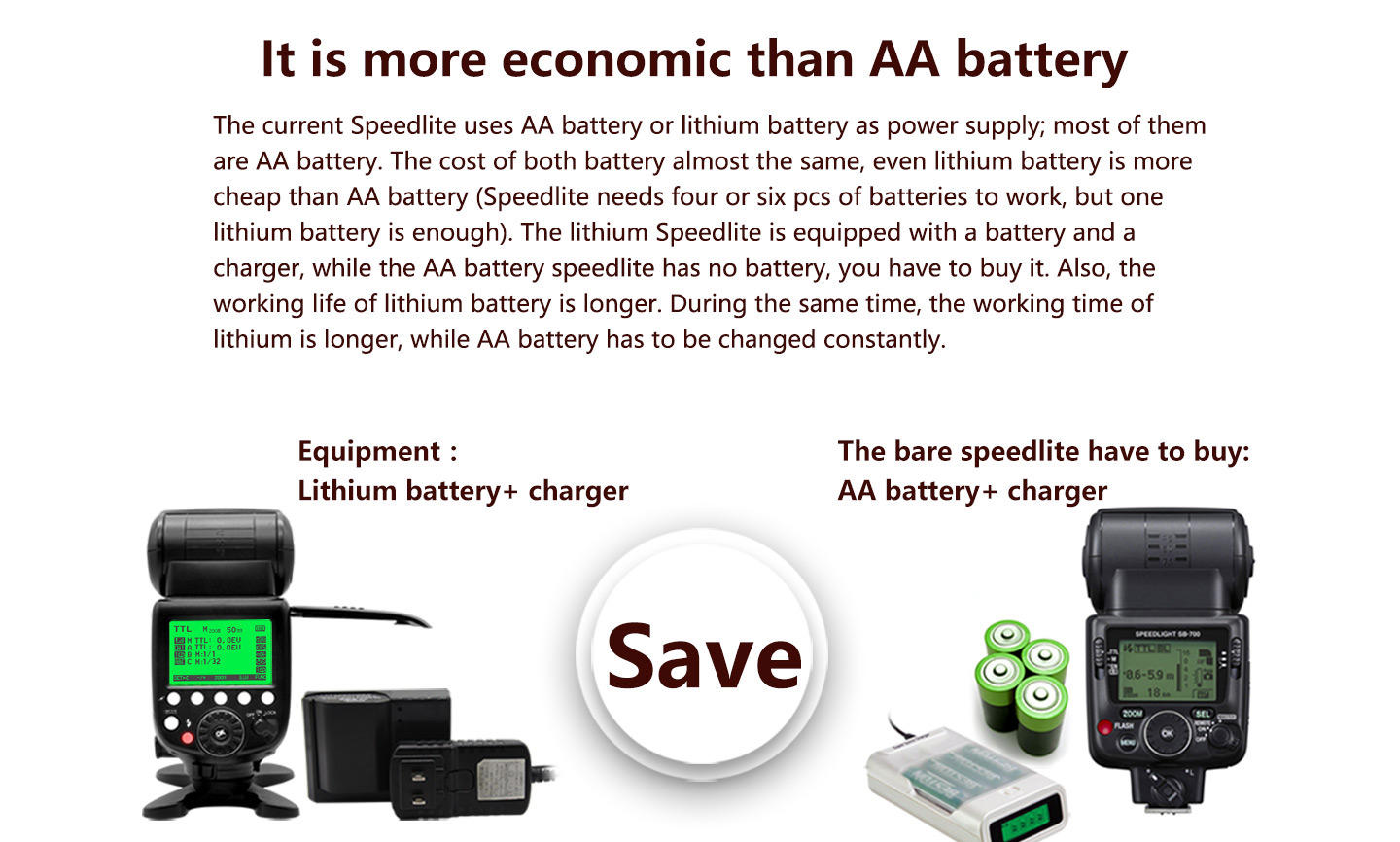 It is more economic than AA battery