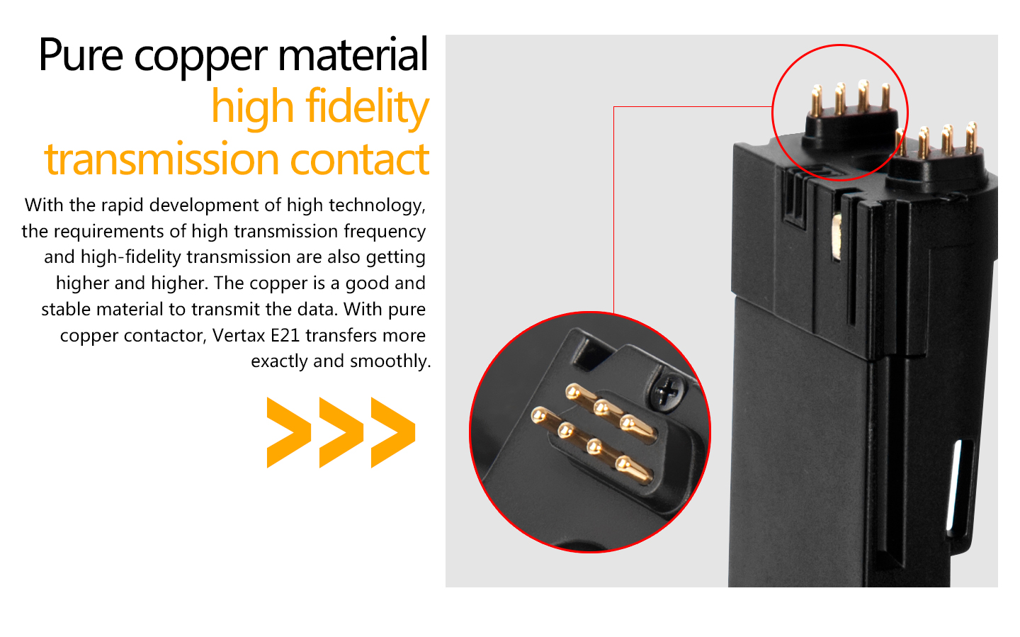 Pure copper material high fidelity tranmission contact