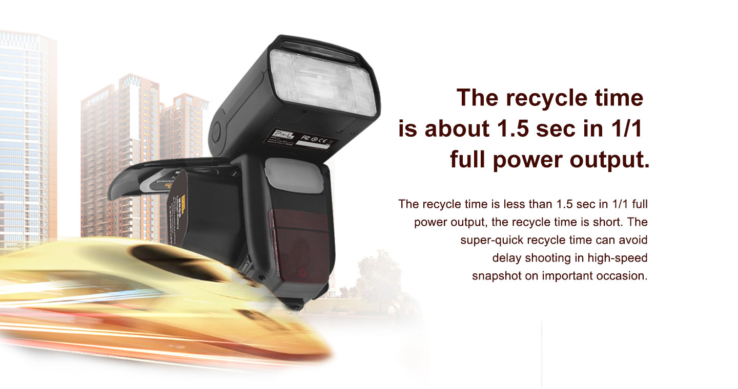 The recycle time is about 1.5 sec in 1/1 full power output