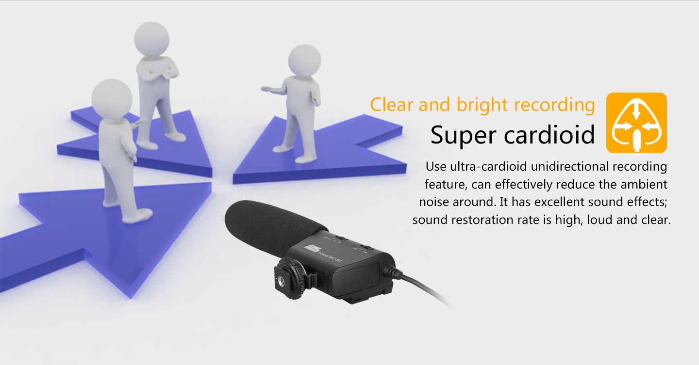 Clear and bright recording Super cardioid