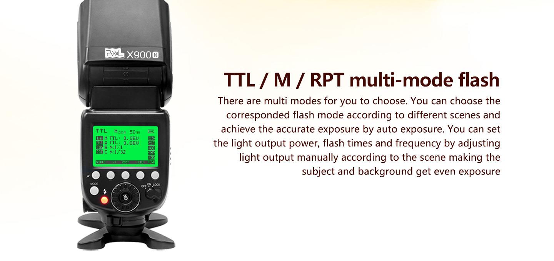 TTL/M/RPT multi-mode flash