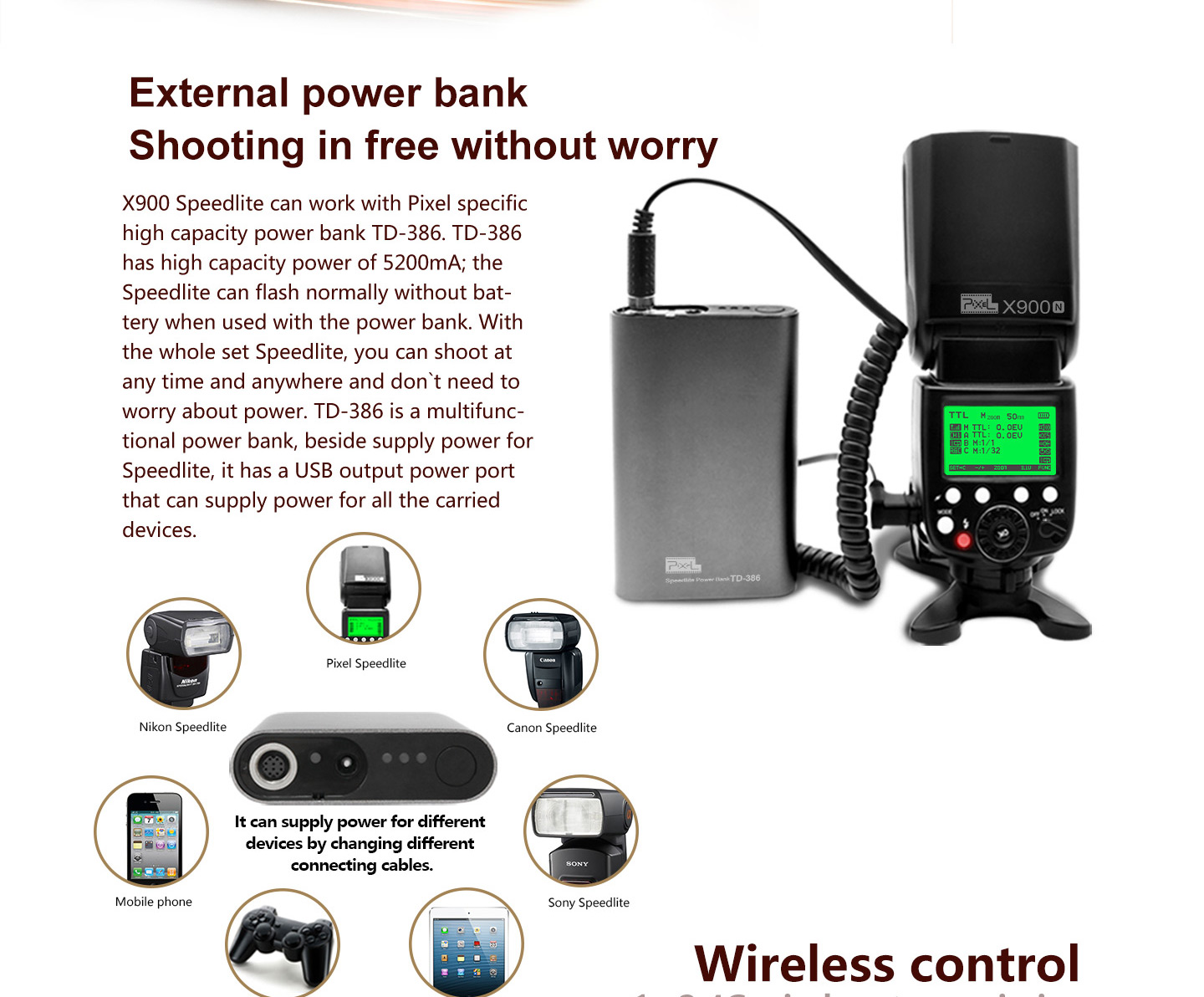 External power bank Shooting in free without worry