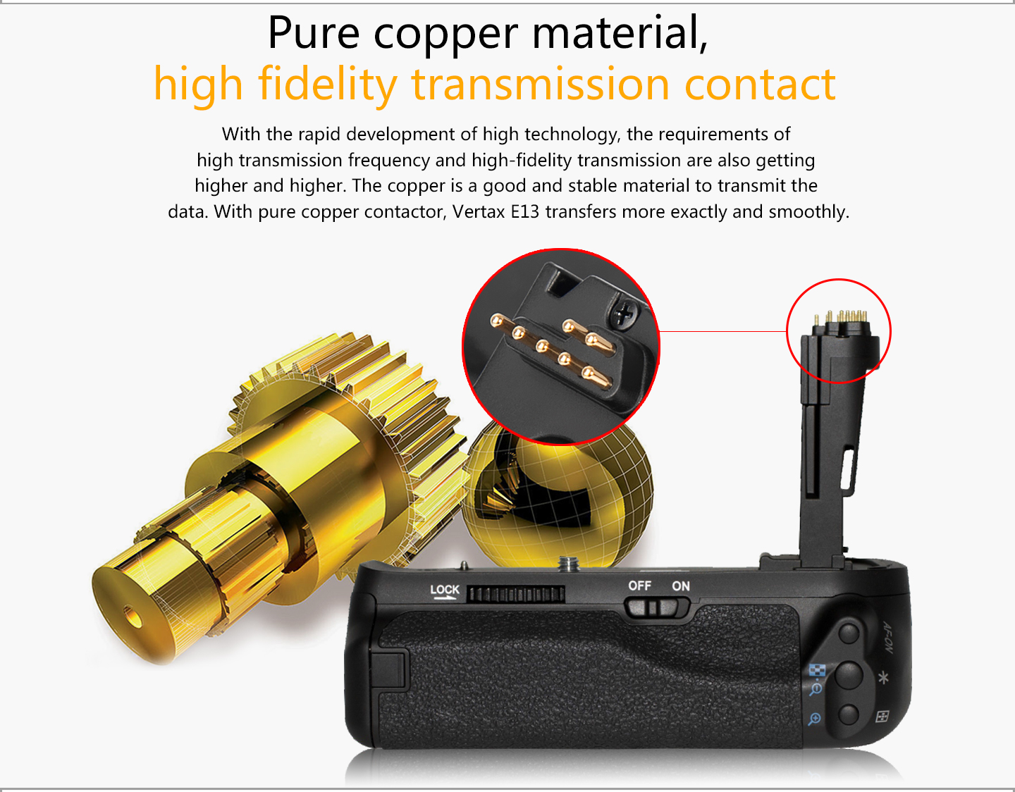 Pure copper material, high fidelity transmission contact