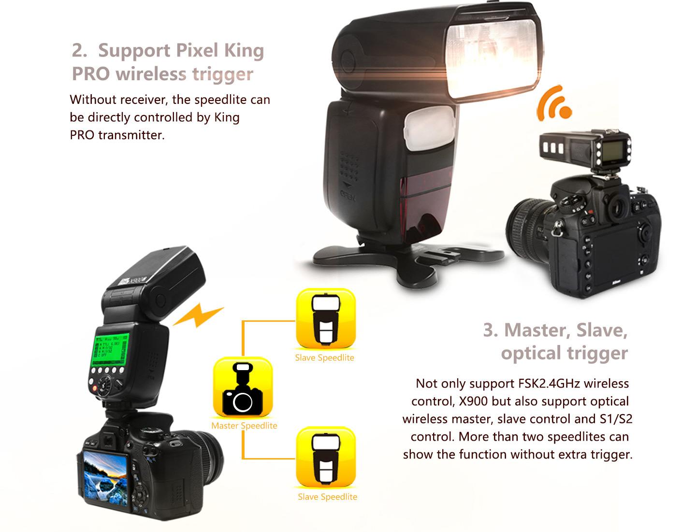 Support Pixel King PRO wireless triggrer, Master, Slave optical trigger