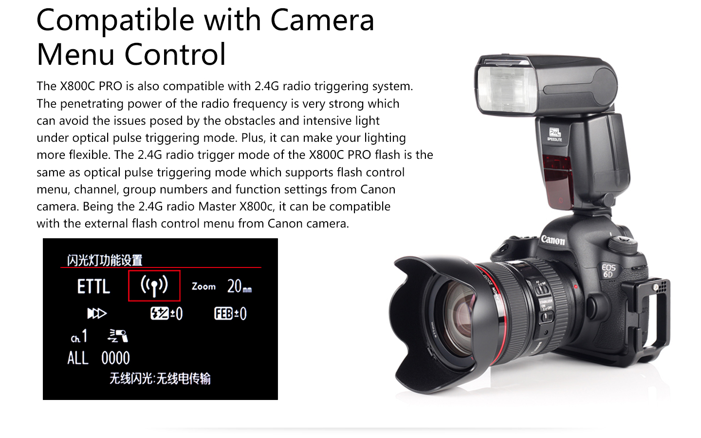 Compatible with Camera Menu Control